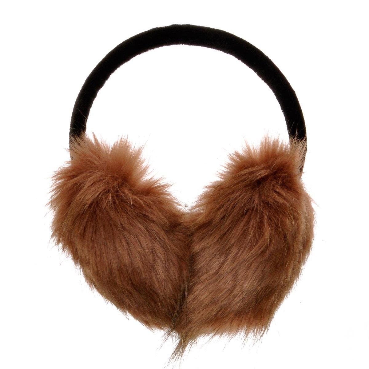 ZLYC Womens Girls Winter Fashion Adjustable Faux Fur EarMuffs Ear Warmers (Black) ZYJ-ET-007-BK-1