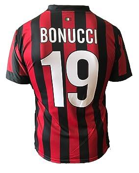 A.C. Milan - Camiseta de Bonucci del AC Milan, dorsal 19, réplica autorizada 2017