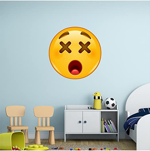 Amazon com 36 dizzy face emoji wall decal omg iphone emoticon apple icon removable sticker graphic decal kids game room decor art cling new kitchen
