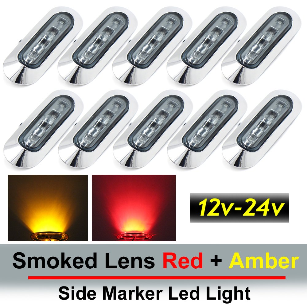 10 pcs TMH 3.6'' submersible 4 LED Smoked Lens Red & Amber Side Led Marker ( 5 + 5 ) 10-30v DC , Truck Trailer marker lights, Marker light amber, Rear side marker light, Boat Cab RV by TMH