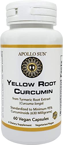 APOLLO SUN Yellow Root Curcumin from Turmeric Root Extract Curcuma Longa 630 Milligrams as a Dietary Supplement 60 Vegan Capsules