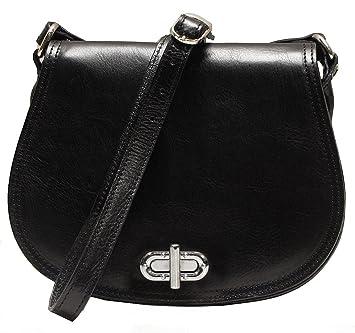 056f500664e1 Amazon.com  Floto Women s Saddle Bag in Black Italian Calfskin Leather - handbag  shoulder bag  Shoes