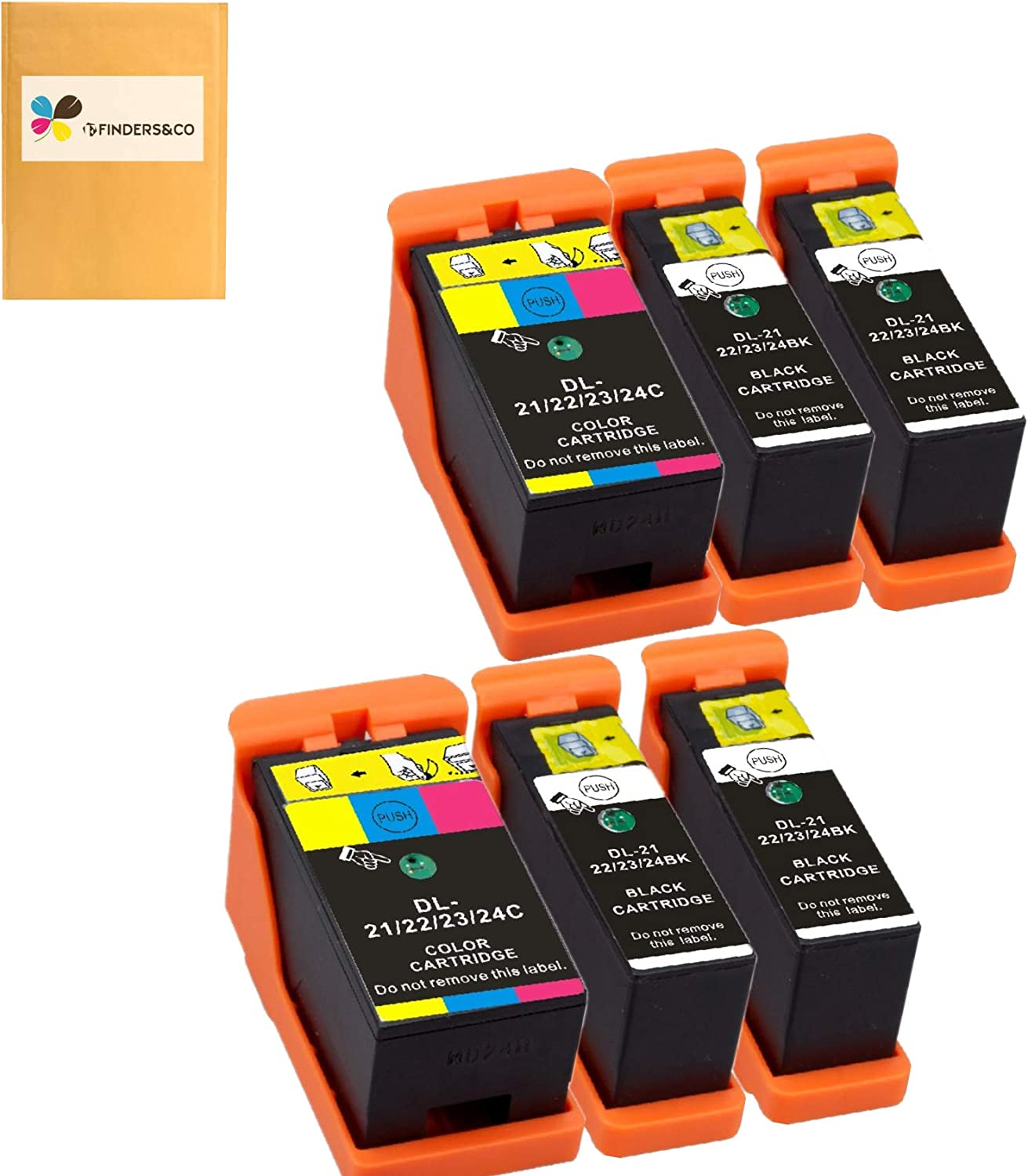 Compatible Dell Series 21 Ink Cartridges Replacement for DELL V313 V313W V515W P513W P713W V715W Printer (4BK, 2Color)