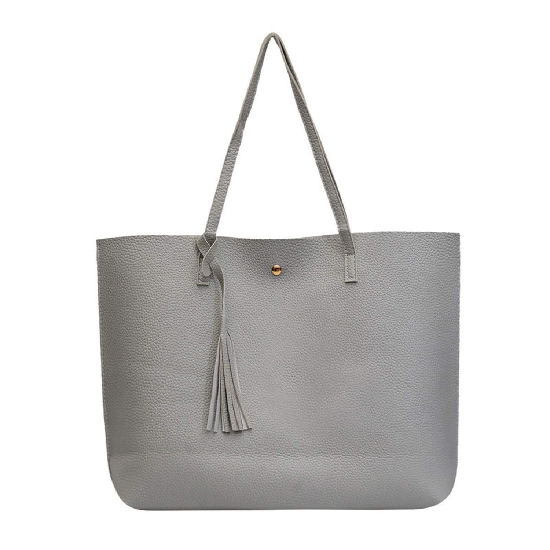 Women Messenger Bags Leather Casual Tassel Handbags Vintage Big Size Tote Shoulder Bag