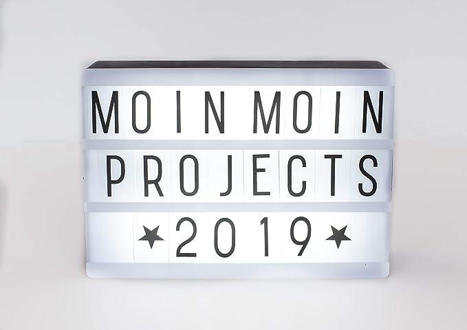 Projects Panorama Caja de luz LED de plástico, incluye pilas, letras, números y símbolos, publicidad flexible, caja de luz decorativa versátil, diseño ...
