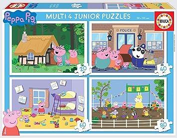 Educa- Multi 4 Junior, Puzzle Infantil Peppa Pig de 20, 40, 60 y 80 Piezas (18645) , color/modelo surtido: Amazon.es: Juguetes y juegos