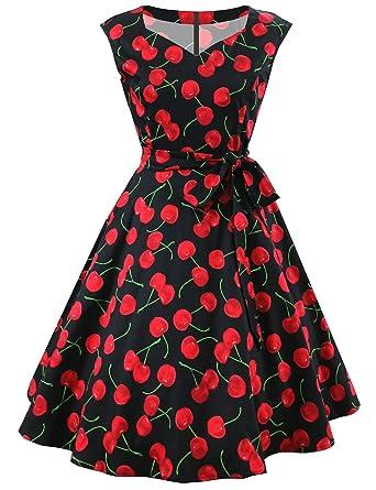 HUINI Damen Vintage Kleid 50er Jahre Gestreiftes Gepunktet Sommerkleid Retro  Schwingen Rockabilly Kleid V-Ausschnitt Cocktailkleider mit Gürtel   Amazon.de  ... 7bd89a6713