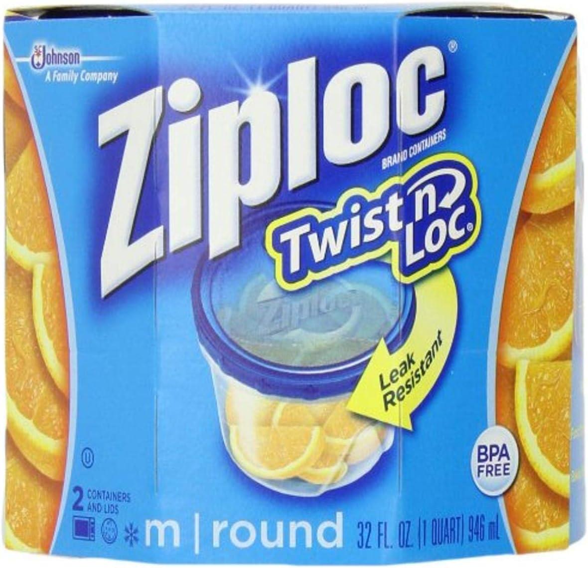 Ziploc Twist 'N Loc , Medium Round, Containers & Lids, 2-Count (Pack of 2)