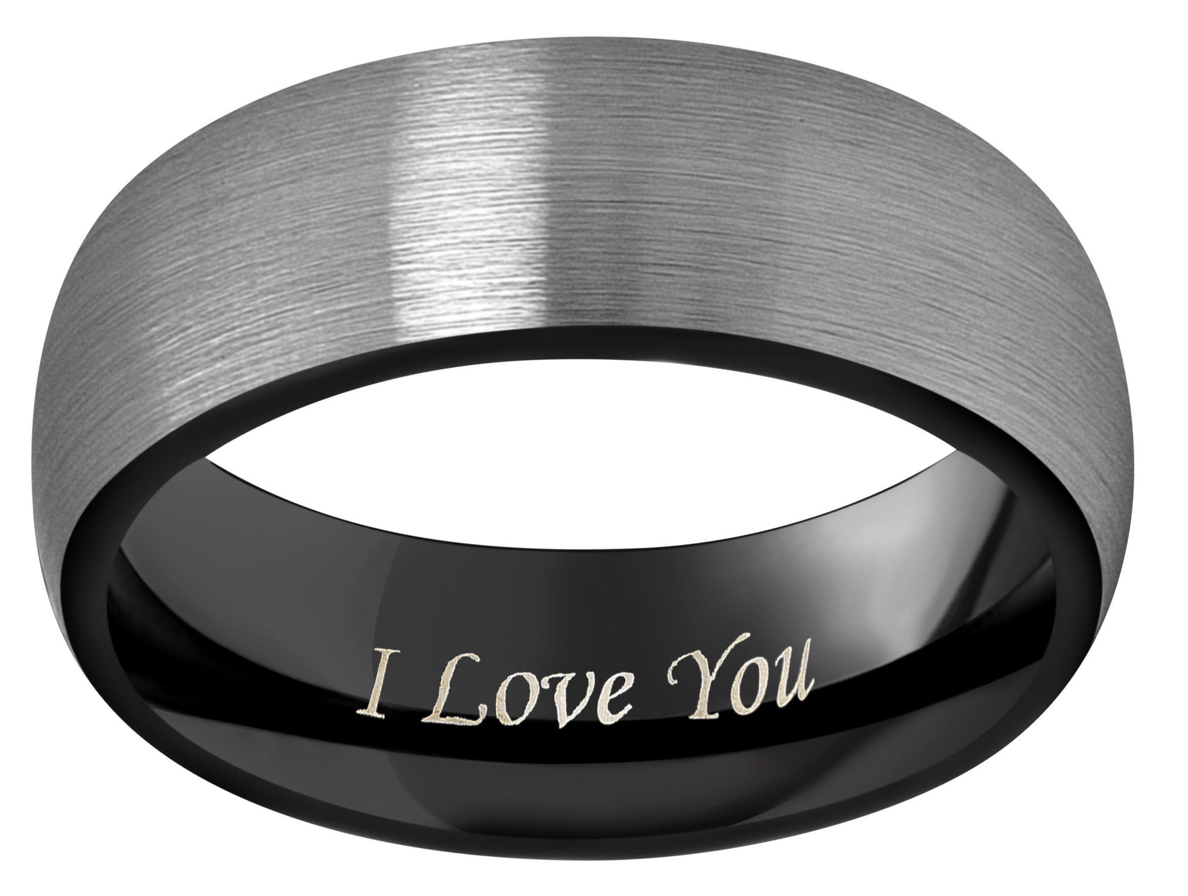 CROWNAL 4mm 6mm 8mm Black Tungsten Couple Wedding Bands Rings Men Women Dome Brushed Finish Engraved I Love You Size 3.5 To 17 (8mm,12) by CROWNAL (Image #2)