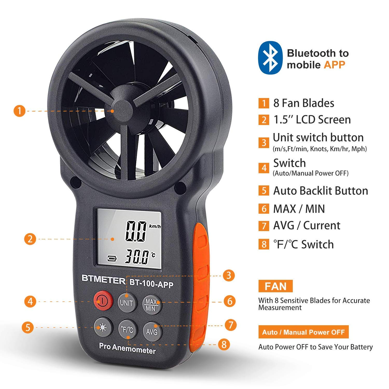 8 in 1 Digital LCD Flügelrad Anemometer Windmessgerät Windmesser Thermometer