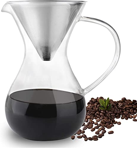 Phyismor Pour Over Coffee Dripper, 33 oz Hand Drip Coffee Maker with Stainless Steel Filter
