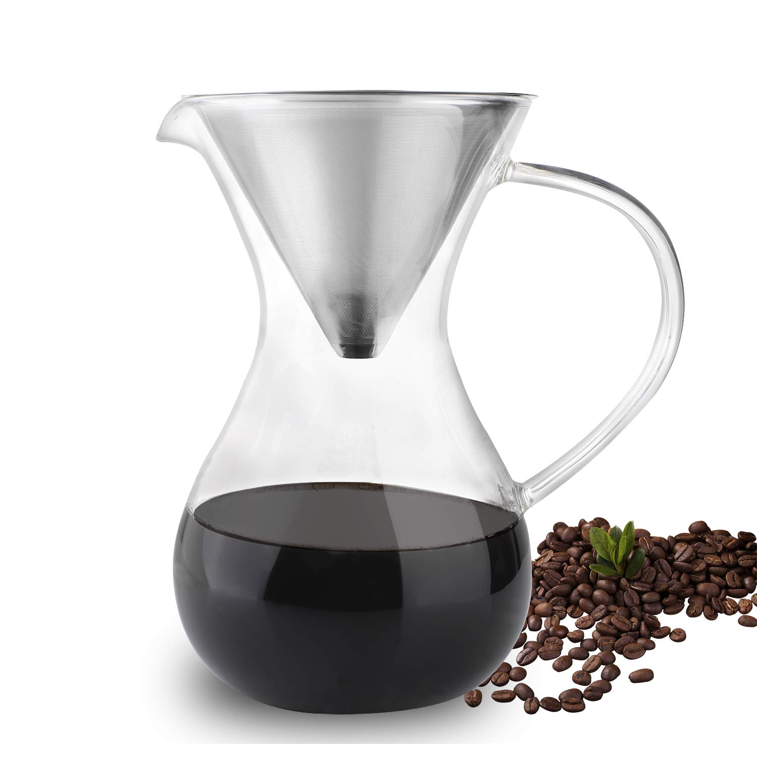 Phyismor Pour Over Coffee Maker with Stainless Steel Filter, Coffee Drip Dripper Brewer Pitcher, Borosilicate Glass Carafe,1 Liter/33 oz, for Hand Made Manual Coffee by Phyismor