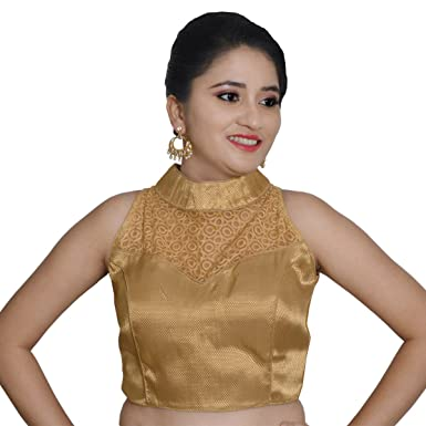 Amazon.com  Areum Gold Banarasi Brocade High Neck Net Back Sleeveless  Padded Readymade Saree Blouse for Women  Clothing