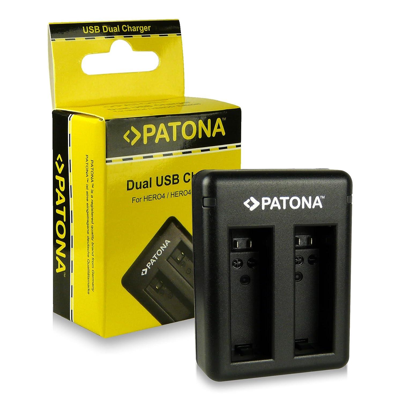 PATONA Cargador de batería doble AHBBP-401 para Batería GoPro Hero 4 | GoPro Hero 4 Black Edition | GoPro Hero 4 Silver Edition con mini USB Cable