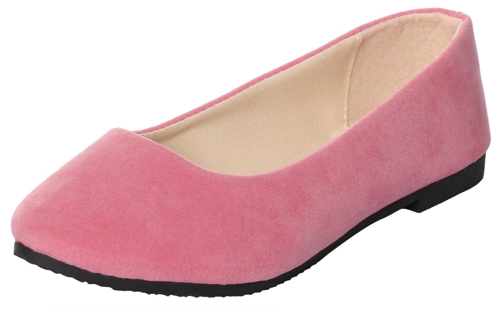 UJoowalk Womens Casual Simple Comfort Solid Color Pointed Toe Suede Leather Ballet Walking Slip on Flat Shoes (9 B(M) US, Matte Pink)