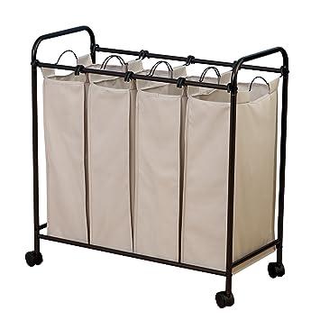 rolling laundry cart walmart basket dresser with handle household essentials quad sorter removable hamper bags antique bronze frame