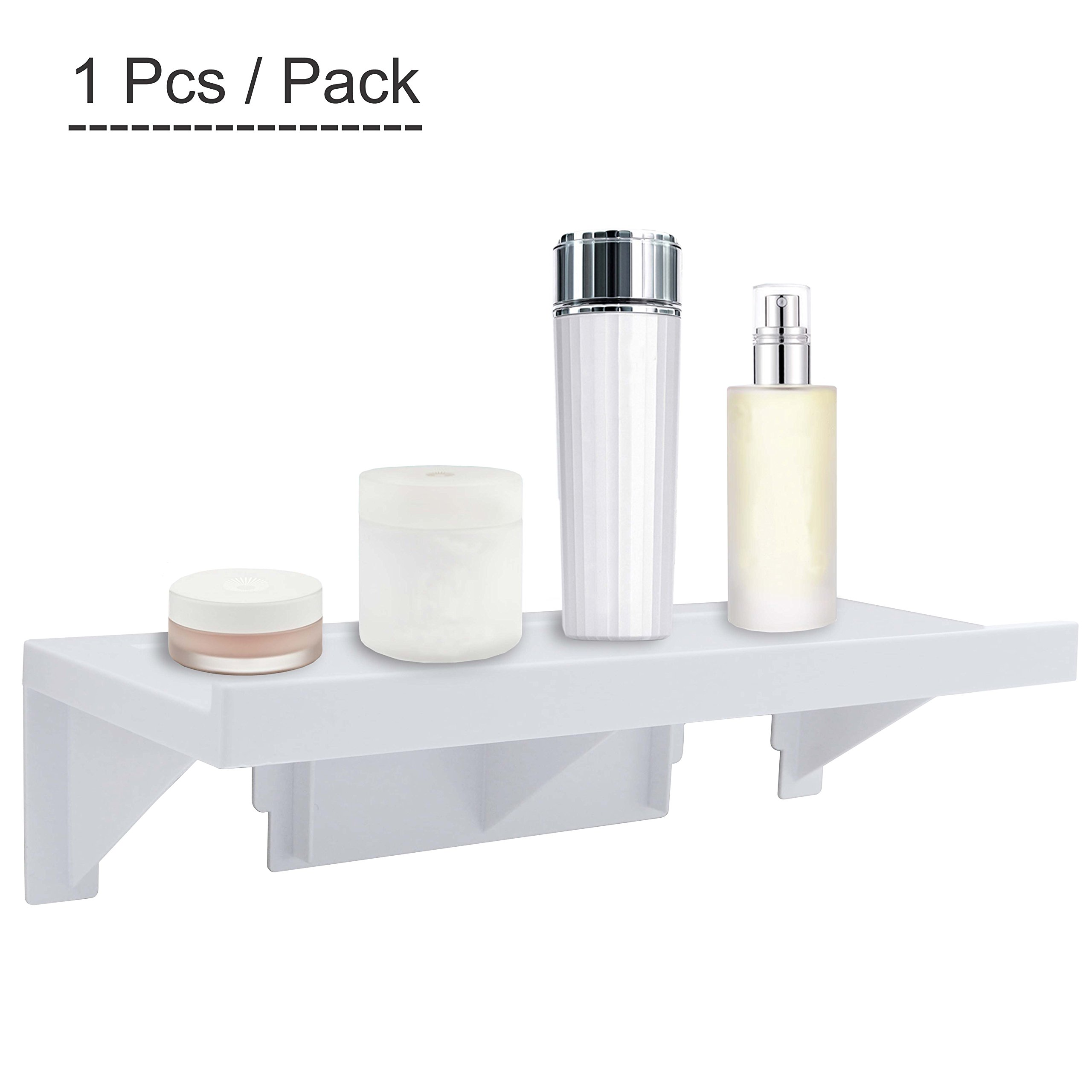 Upgraded Wall Mount Shelf,OKOMATCH No-Trace Stick Plastic Storage Rack For Kitchen/Bathroom,Decor Organizer In Living Room - No Drill & Nail Installation - Reusable(1pcs/Pack)