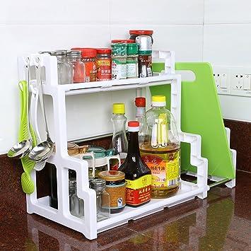 Beistellwagen Edelstahl-Küche Regal Regal Gewürz-Box Lagerung Rahmen ...