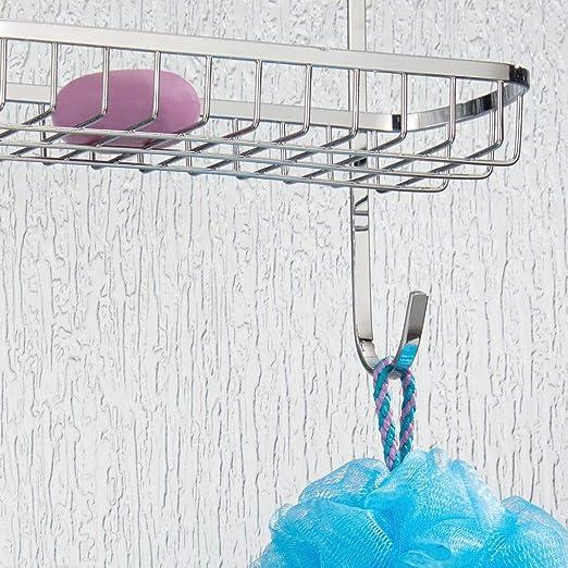 mDesign Estantería de ducha para colgar sobre la mampara – Práctico colgador para ducha de acero resistente sin taladro – Cestas metálicas con ventosas para los accesorios de ducha – plateado: Amazon.es: Hogar