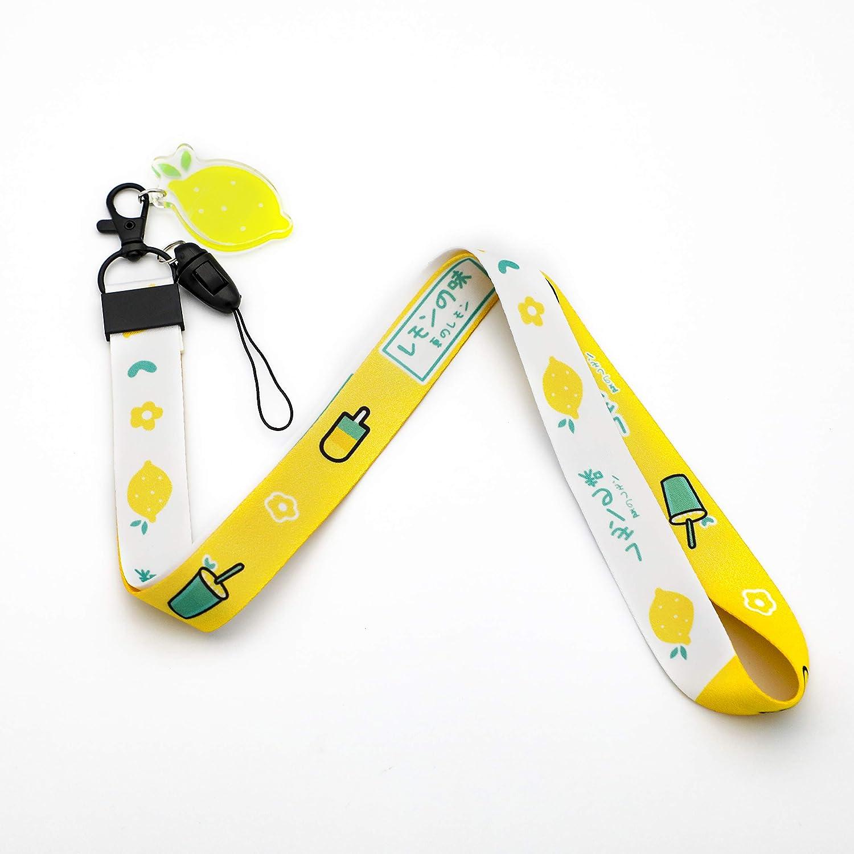 Lemons Print Lanyard Key Chain ID Card Badge Holder with Lemon Charms for Fruit Lovers Acrylic Charm (Yellow)