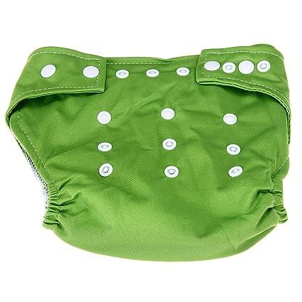 Pañal Algodón Bebé Niños Respirable Resistente a Agua Color Verde