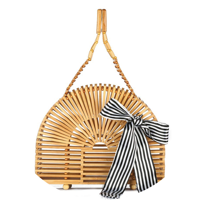 Hand-woven women bamboo bags Beading shell ies Hand Bag wood causal totes Womens handbags