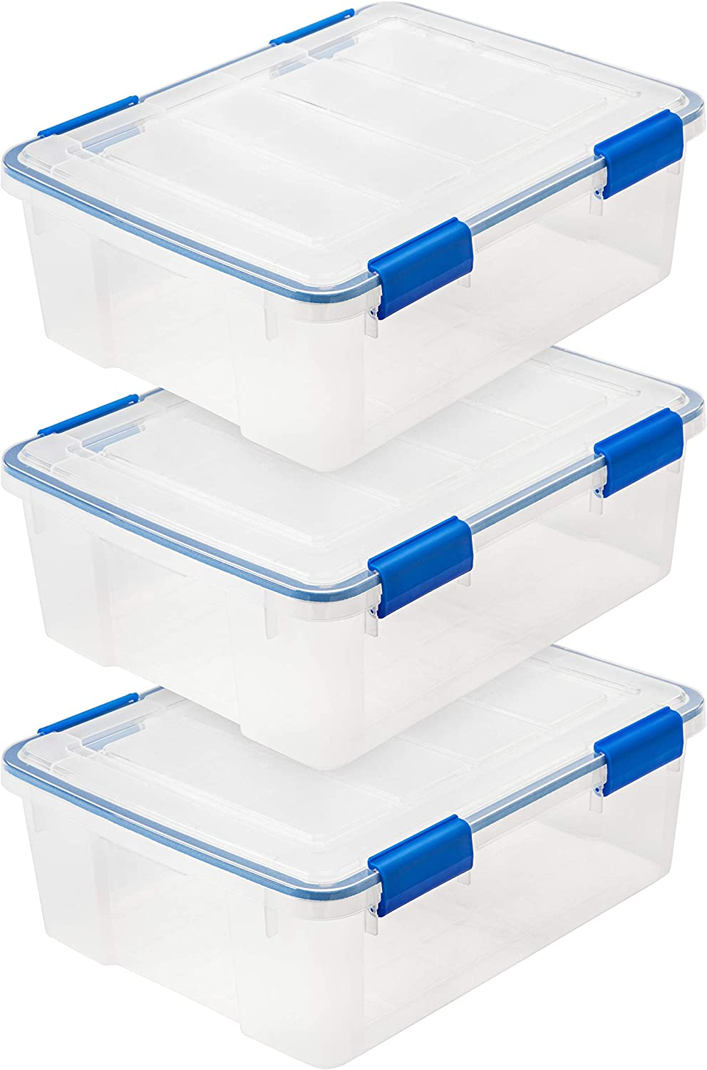 IRIS USA, Inc. WSB Air Waterproof/Weather Tight Plastic Storage Bin Tote Organizing Container with Durable Lid and Seal and Secure Latching, 26.5 Quart, Clear with Blue Buckles, 3 Count