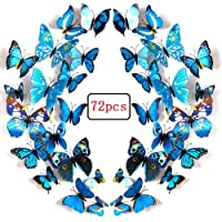 LiveGallery 72 PCS Blue Removable 3D DIY Beautiful Butterfly Wall Decals Blue Butterflies Art Decor Wall Stickers Murals for Kids Baby Boy Girls Bedroom Classroom Offices (Blue)