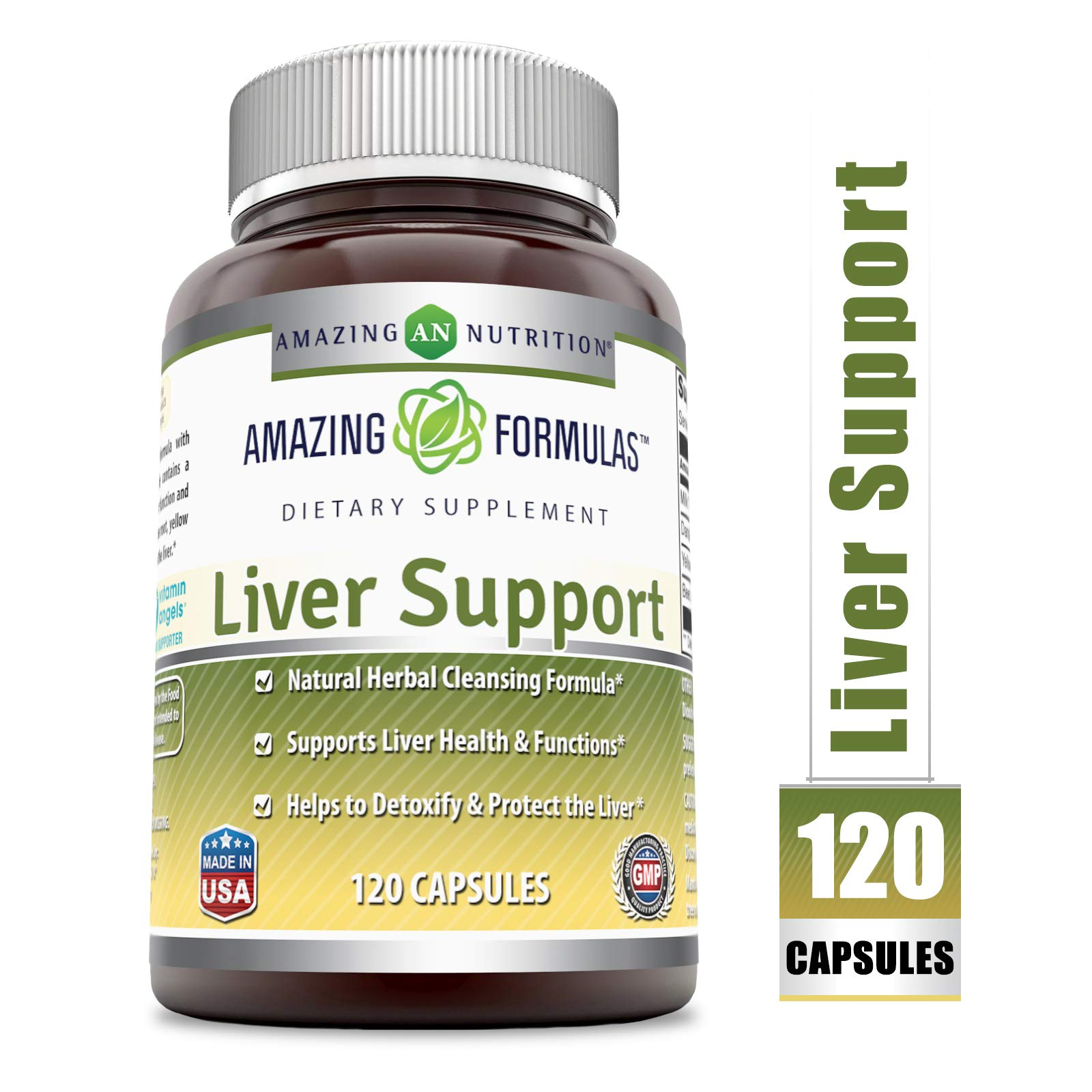 Amazing Formulas Liver Support 120 Capsules (Non-GMO) *Natural Herbal Cleansing Formulas *Supports Liver Health & Function *Helps Detoxify & Protect Liver by Amazing Nutrition