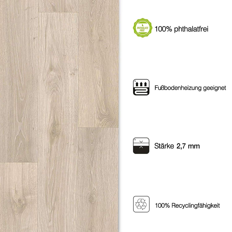 gesch/äumt Oberfl/äche strukturiert extra abriebfester PVC Bodenbelag Meterware 200x250 cm casa pura/® CV Bodenbelag Beech Plank edle Holzoptik - Buche hell