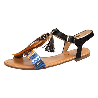 Feet First Fashion Nora Womens Flats Open Toe Feather Tassel Sandals