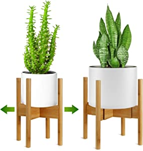"""Mid Century Indoor Plant Stand, Adjustable Plant Holder (8""""-12"""") in Natural Bamboo, Corner Plant Holder for Pot, Expandable Raised Plant Holder for Indoor Planters and Flower Holders (No Pot Included)"""