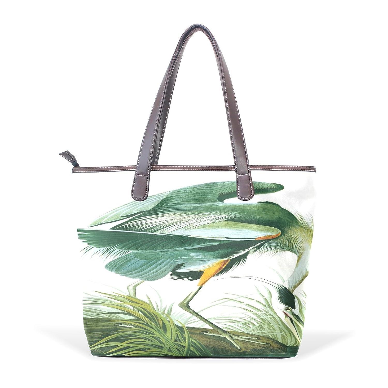 Womens Leather Tote Bag,Cartoon Elegant Flamingos,Large Handbag