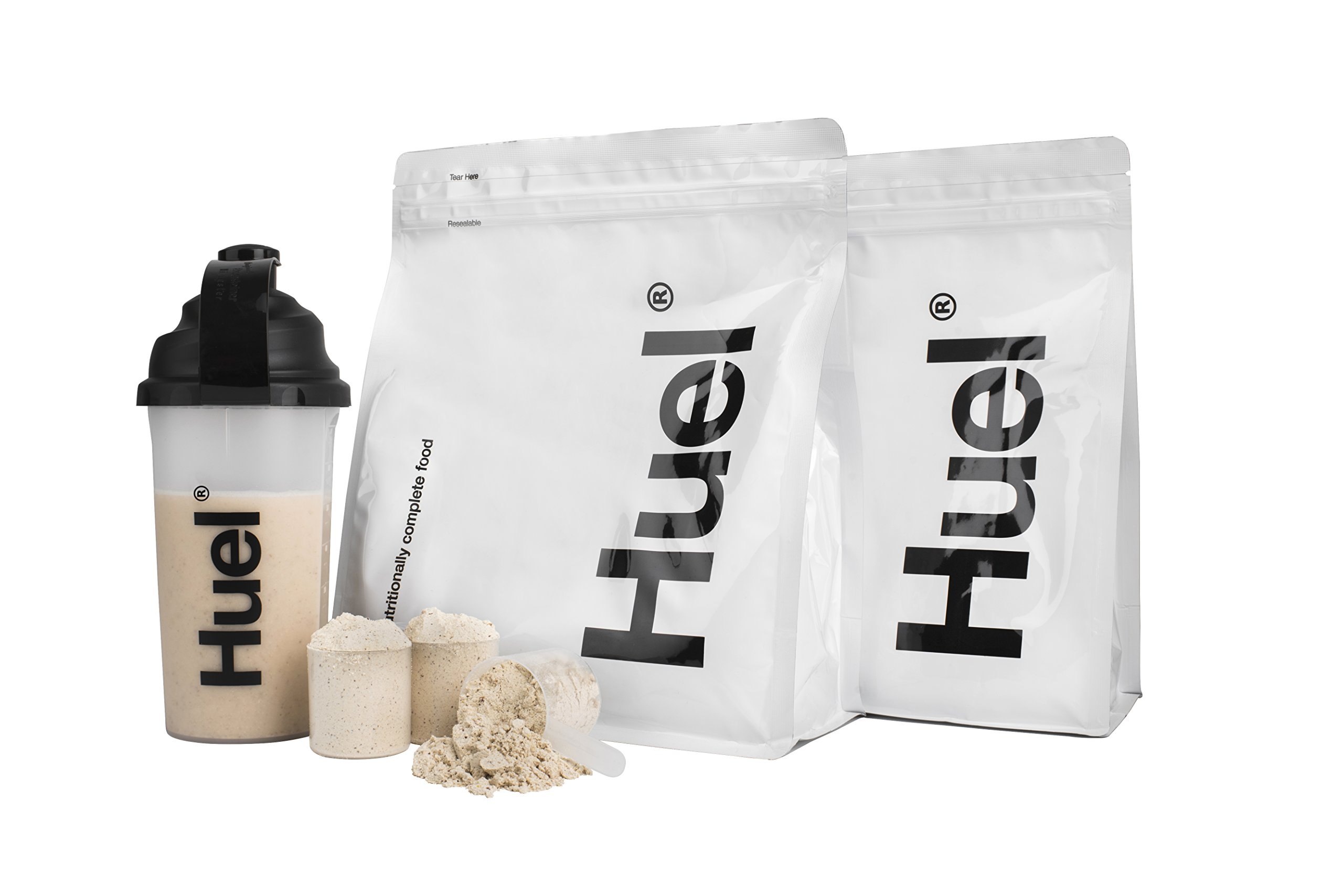 Huel Starter Kit - Includes 2 Pouches of Nutritionally Complete 100% Vegan Powdered Meal, Scoop, Shaker and Booklet (7.7lbs of Powder - 28 Meals) (Vanilla Gluten Free) by Huel