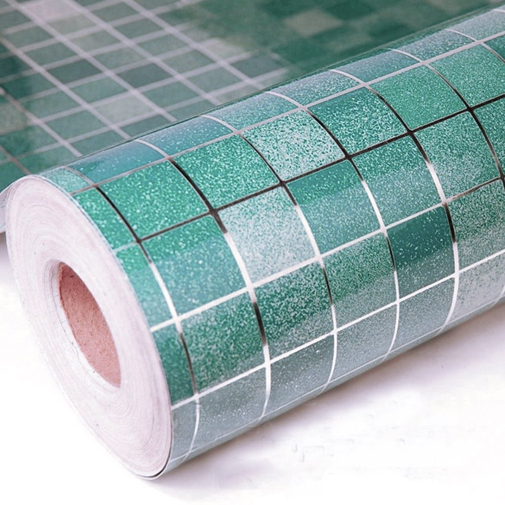 yazi Jade Green Mosaic Anti Oil Wallpaper Aluminum Foil Kitchen Cupboard Cover Liner 17x98 Inch Valentine's Day Gift