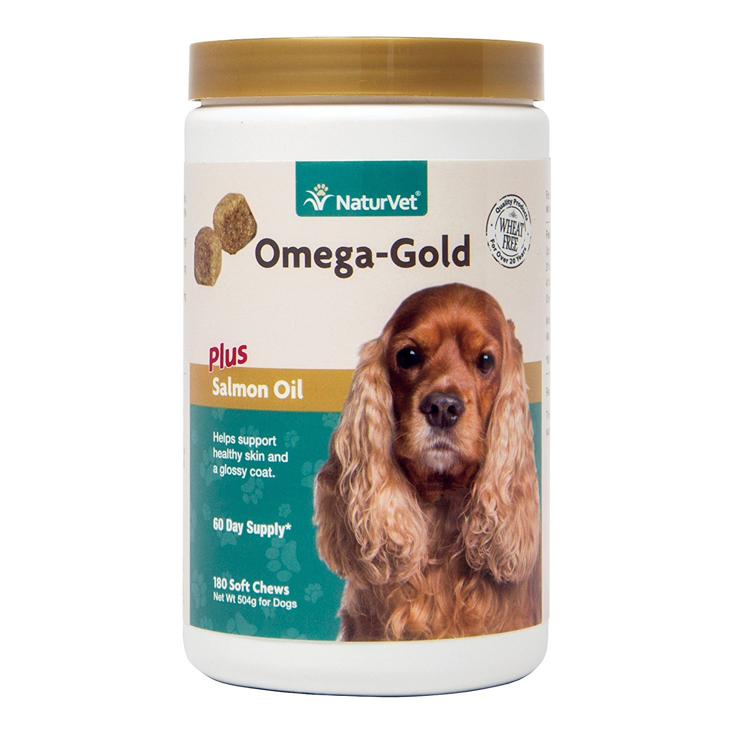 NaturVet Omega-Gold Plus Salmon Oil for Dogs, 180 ct Soft Chews, Made in USA by NaturVet