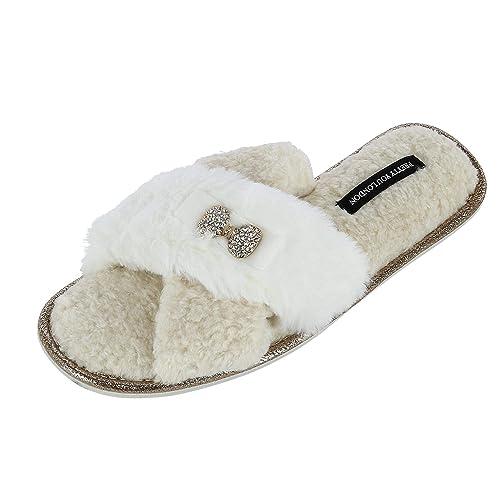 Pretty You - Zapatillas de Estar por casa para Mujer Marfil Crema: Amazon.es: Zapatos y complementos