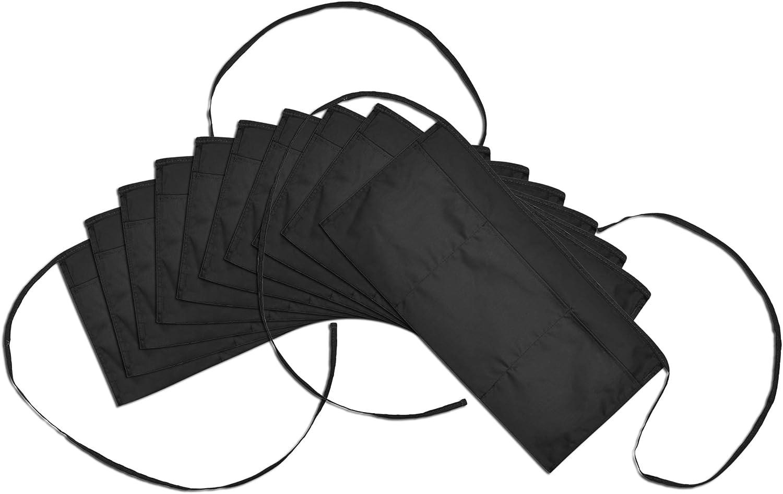 DALIX Waist Aprons Commercial Restaurant Home Bib Spun Poly Cotton Kitchen (3 Pockets) in Black 10 Pack