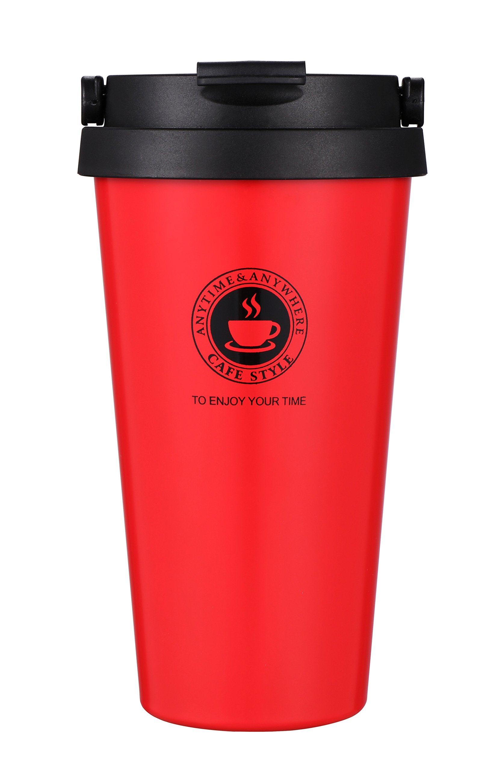 18/8 Stainless Steel Vacuum Insulated Travel Coffee Mug with Handle/Portable Thermal Cup,Wide Mouth Tumbler with Leak Proof Lid,16oz,Red