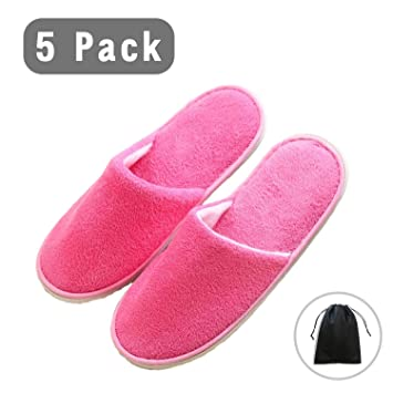 e3490f8ff7672 Spa Slipper- 5 Pairs of Velvet Close Toe Slippers with Travel Bags- One  Size Fit Most Men and Women for...