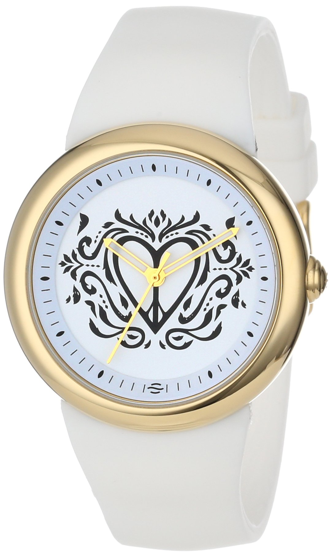 PeaceLove Unisex F36G-PL-W  Clark Art Dial Gold-Tone Stainless Steel Watch with White Silicone Band