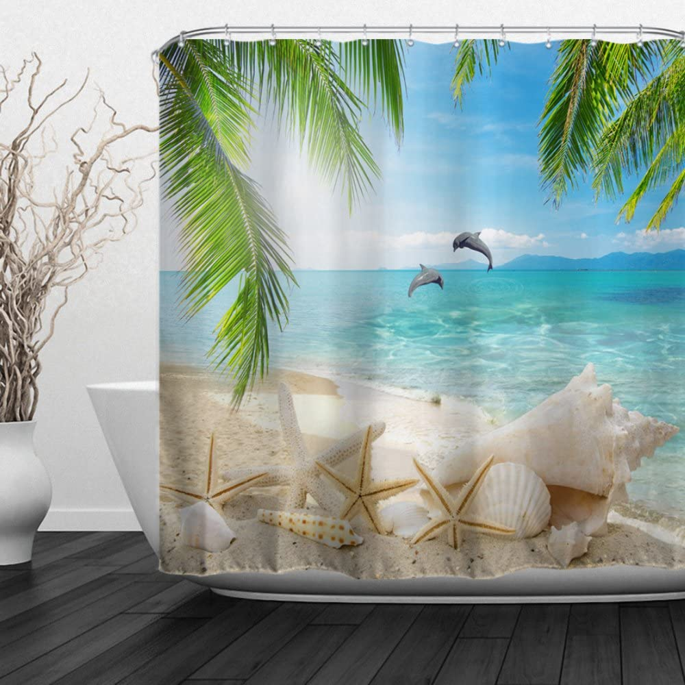 """Baccessor Home Bathroom Decorative Polyester Fabric Ocean Beach Theme Shower Curtain with Hooks, Waterproof Fabric, Weighted Bottom, 72"""" W x 72"""" H (180CM x 180CM) - Dolphins Shells"""