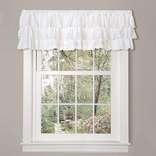 royalmasters White Shabby Chic Ruffle Window Treatment Valance Single Curtain, 18 x 84 , White