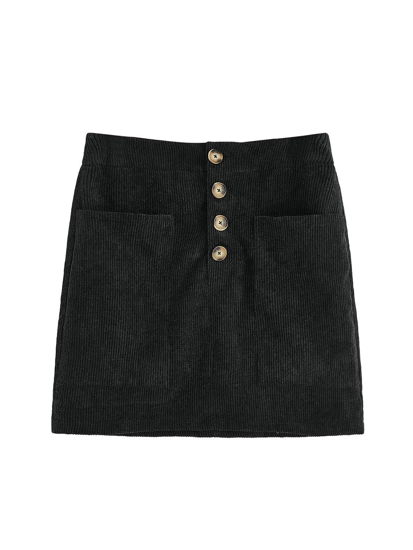 Black WDIRARA Women's Casual Button Front Mid Waist Above Knee Short Corduroy Skirt