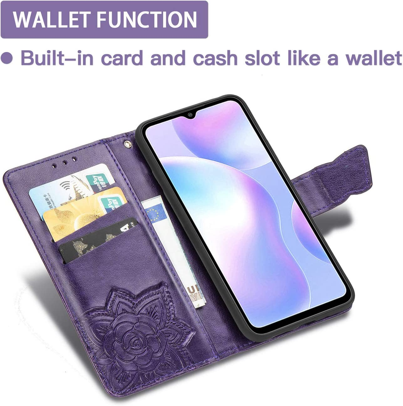 Premium 3D Butterfly Phone Shell Blue PU//TPU Leather Wallet Cover with Cash /& Card Slots TANYO Flip Folio Case for Google Pixel 4A