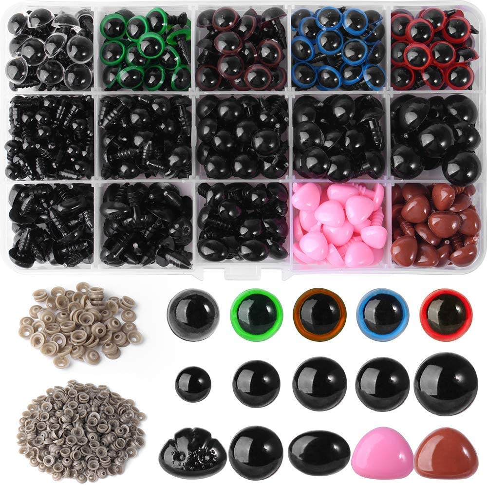 Ojos de Seguridad, Queta 560 Ojos de Plástico para Ojos y Narices de Muñecas, Accesorios de Juguete de Bricolaje para Muñecas/Juguetes de Peluche/Artesanías de Marionetas