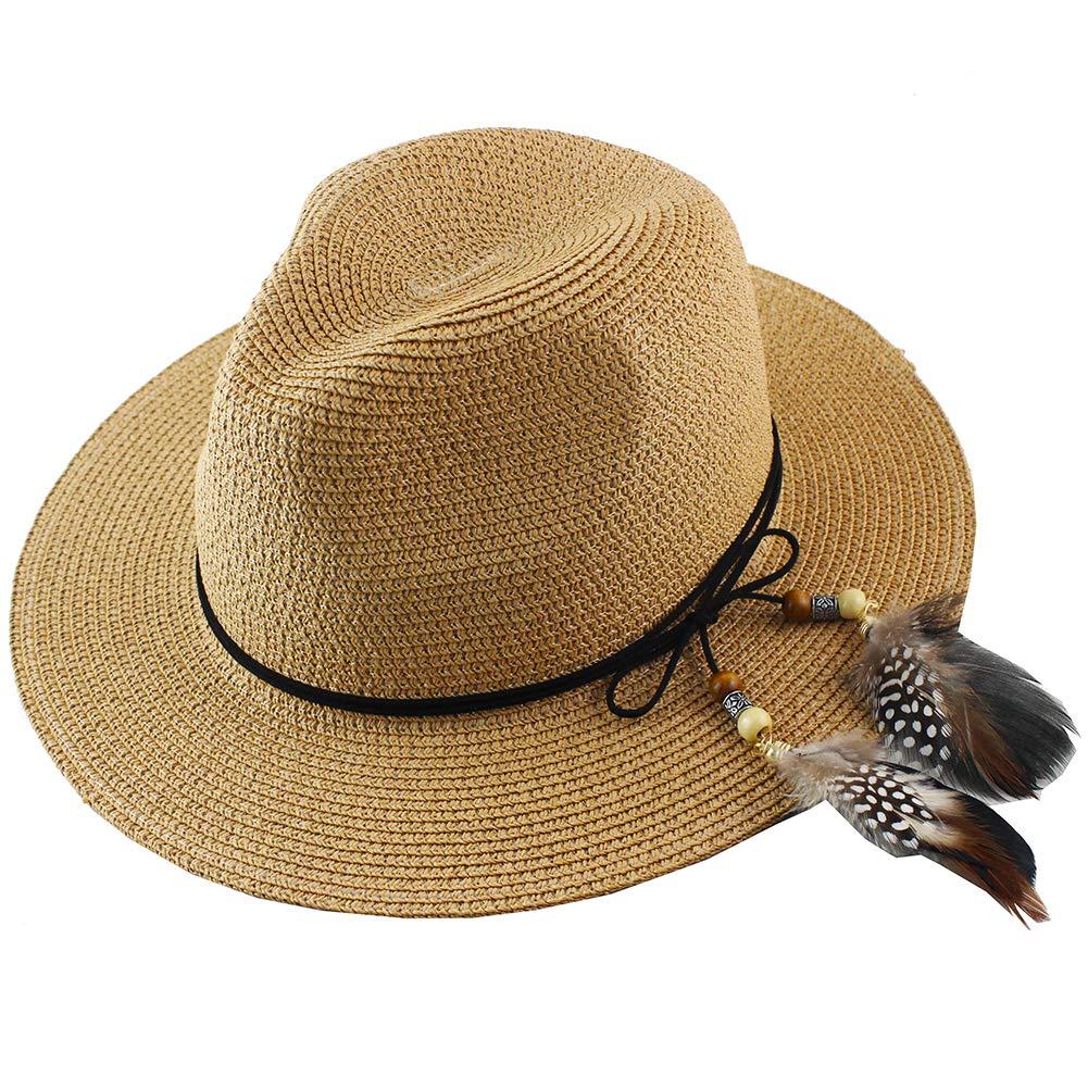 Women Straw Fedora Hat Wide Brim Summer Foldable Panama Beach Sun Hat UPF50+ Khaki