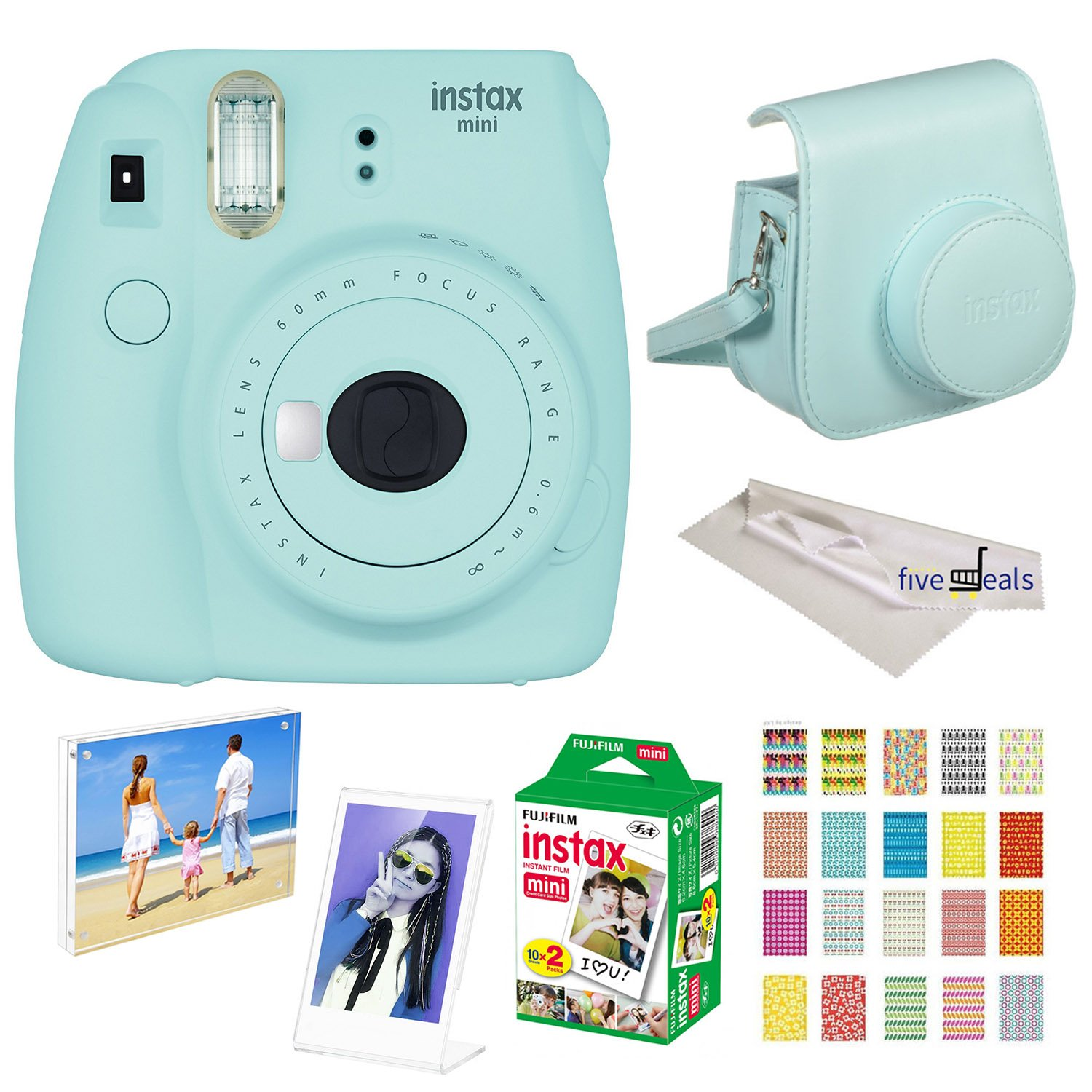 Fujifilm Instax Mini 9 instant Fuji Camera ICE Blue + Camera Case + instant Mini 9 Film Twin Pack + instax Picture Frame + instax Magnet Frame + 20 Border Stickers Kit +FREE Cleaning cloth (Ice Blue)