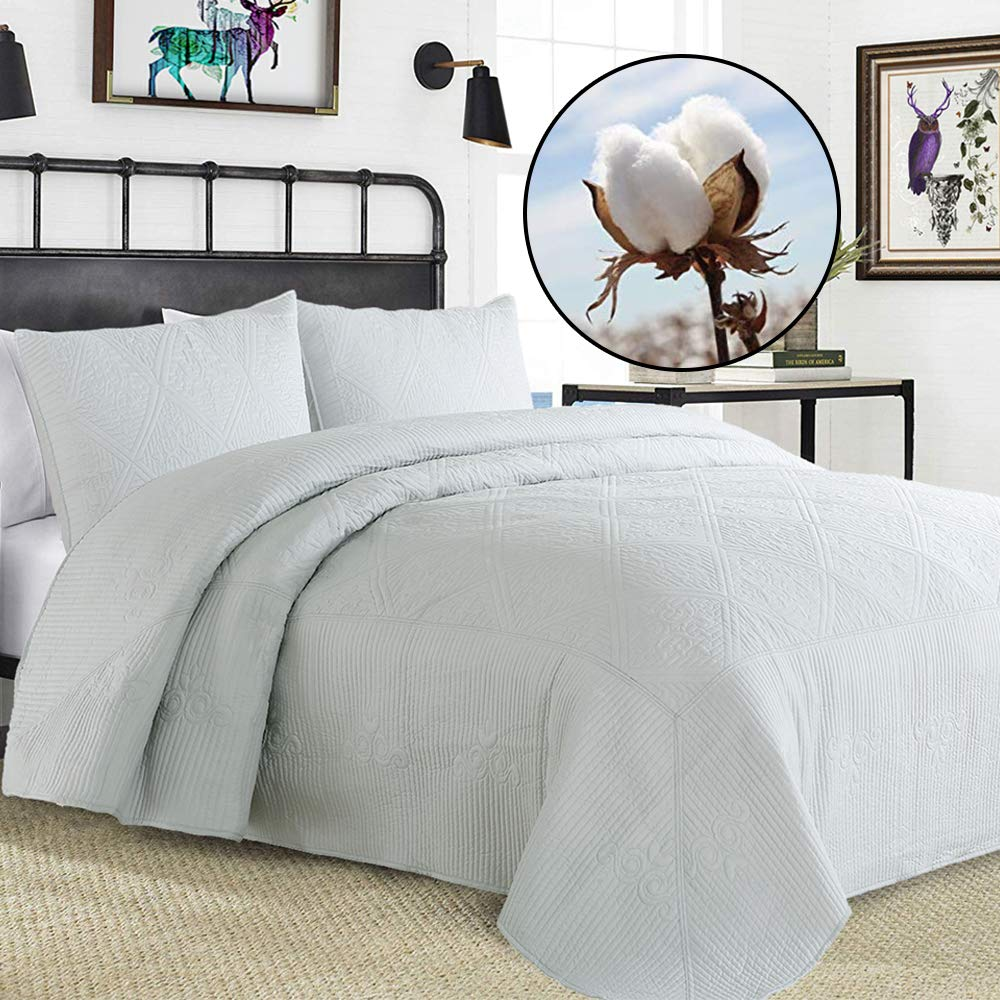 Bedspreads Queen Size Reversible Oversize Bed Cover Gray Stitched Quilt Set 3-Piece 100% Cotton Filled (Light Grey, Full/Queen) (Grey, Full/Queen)