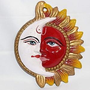 Creativegifts Metal Sun Moon Wall Hanging Sun Mask Religious Half Face Wall Decor